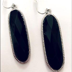 Black Handmade Faceted Dangle Earrings NEW!